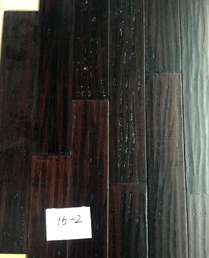 Stained Distressed hand scraped strand woven bamboo flooring